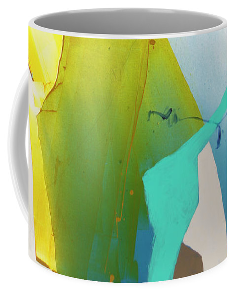 Abstract Coffee Mug featuring the painting Talking To Myself by Claire Desjardins
