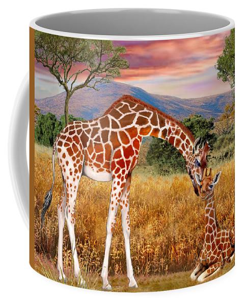 Giraffe Coffee Mug featuring the digital art Tall Love From Above by Glenn Holbrook