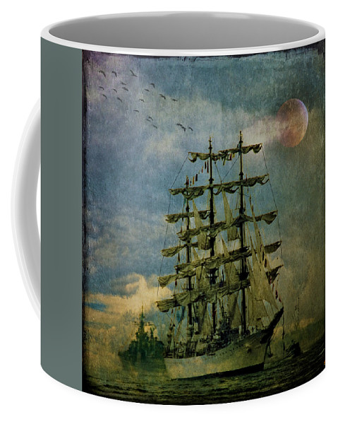 Tall Ship Coffee Mug featuring the photograph Tall Ship New York Harbor 1976 by Chris Lord