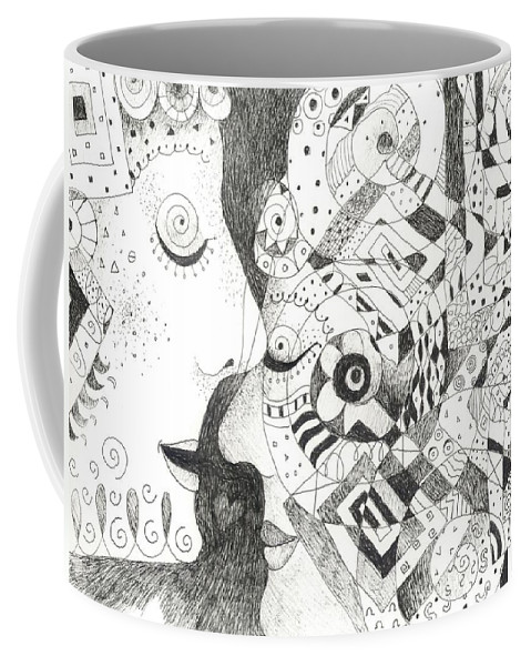 Relationship Coffee Mug featuring the drawing Tall Tales by Helena Tiainen