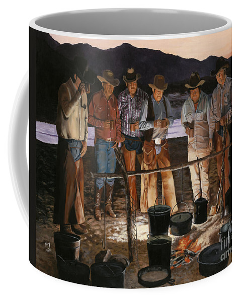 Arizona Coffee Mug featuring the painting Tall Tales by Mary Rogers