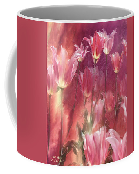 Tulip Coffee Mug featuring the mixed media Tall Tulips by Carol Cavalaris