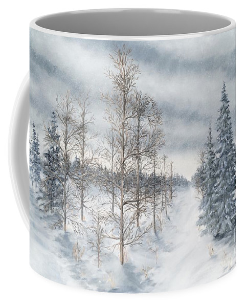 Landscape Coffee Mug featuring the painting Tamarack Swamp In Winter 2 by J O Huppler