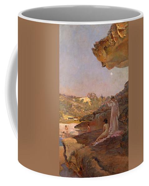 Julian Ashton Coffee Mug featuring the painting Tamarama Beach Forty Years Ago A Summer Morning by Julian Ashton