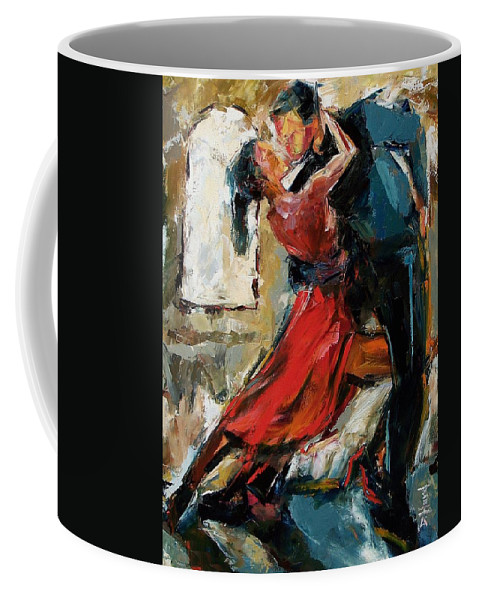 Tango Coffee Mug featuring the painting Tango By The Window by Debra Hurd