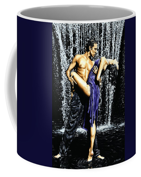 Tango Coffee Mug featuring the painting Tango Cascade by Richard Young