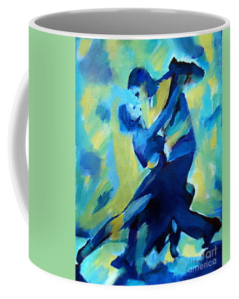 Affordable Paintings For Sale Coffee Mug featuring the painting Tango Dancers by Helena Wierzbicki