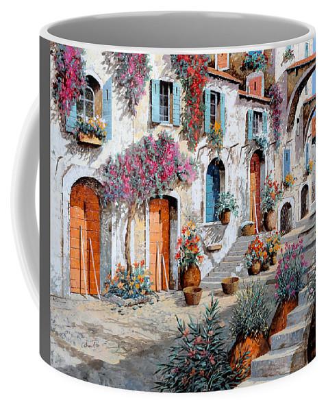Street Scene Coffee Mug featuring the painting Tanti Fiori Per Strada by Guido Borelli