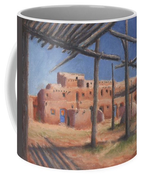 Taos Coffee Mug featuring the painting Taos Pueblo by Jerry McElroy