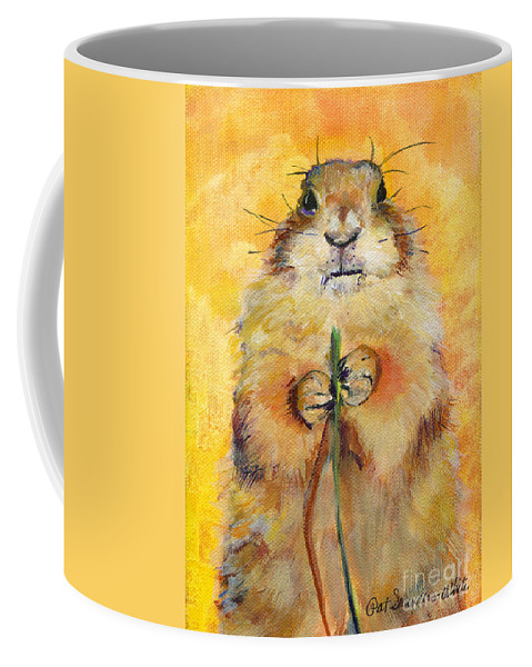 Prairie Dog Painting Coffee Mug featuring the painting Target by Pat Saunders-White