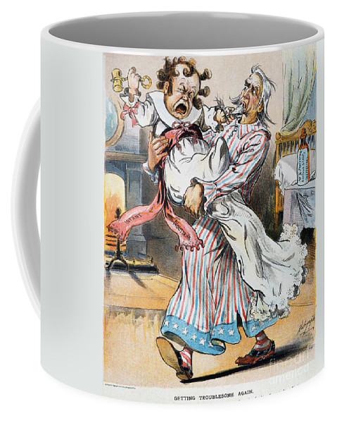 1896 Coffee Mug featuring the photograph Tariff Cartoon, 1896 by Granger