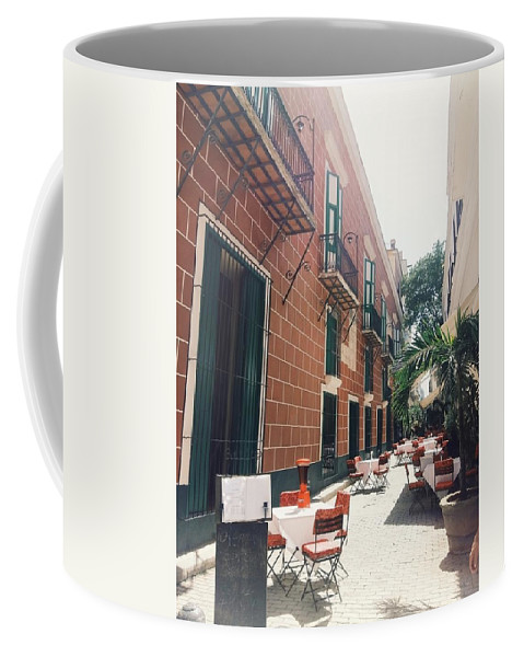 Outside Restaurant Coffee Mug featuring the photograph Taste Of Italy In Cuba by Eloviano Maya
