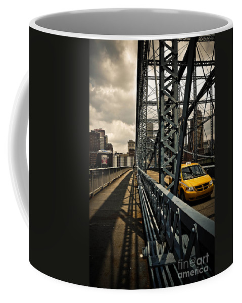 Allegheny County Coffee Mug featuring the photograph Taxi Crossing Smithfield Street Bridge Pittsburgh Pennsylvania by Amy Cicconi