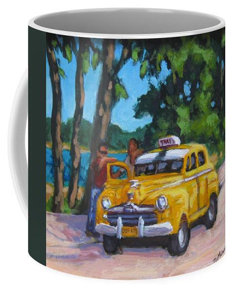 Old Cars Coffee Mug featuring the painting Taxi Y Amigos by John Malone
