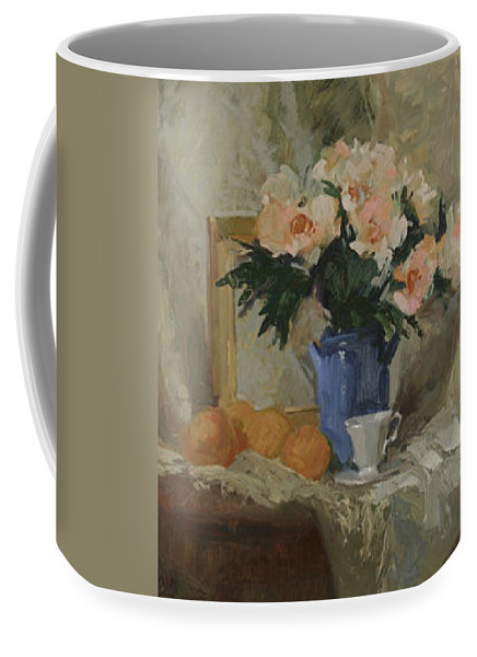 Still Life Coffee Mug featuring the painting Tea And Roses by Betty Jean Billups