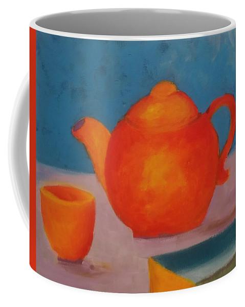 Orange Coffee Mug featuring the painting Tea? by Barbara Sheehan