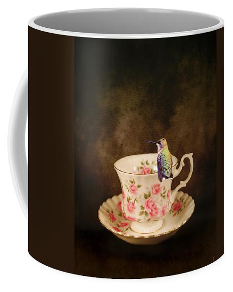 Hummingbird Coffee Mug featuring the photograph Tea Time With A Hummingbird by Jai Johnson
