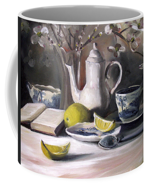 Lemon Coffee Mug featuring the painting Tea With Lemon by Nancy Griswold