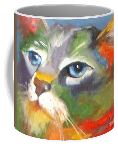 Cat Coffee Mug featuring the painting Technicolor Tabby by Susan A Becker
