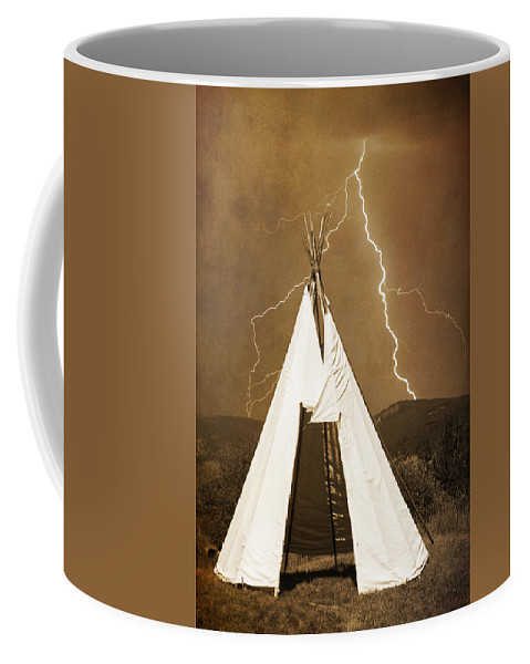 Tee Pee Coffee Mug featuring the photograph Tee Pee Lightning by James BO Insogna