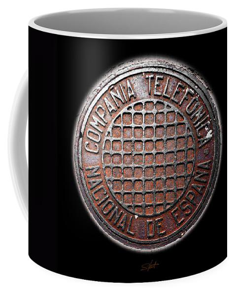 Manhole Cover Coffee Mug featuring the photograph Telefonica by Charles Stuart
