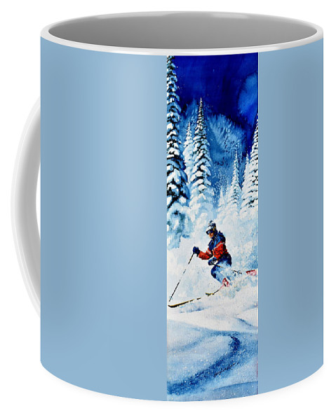 Skier Coffee Mug featuring the painting Telemark Trails by Hanne Lore Koehler