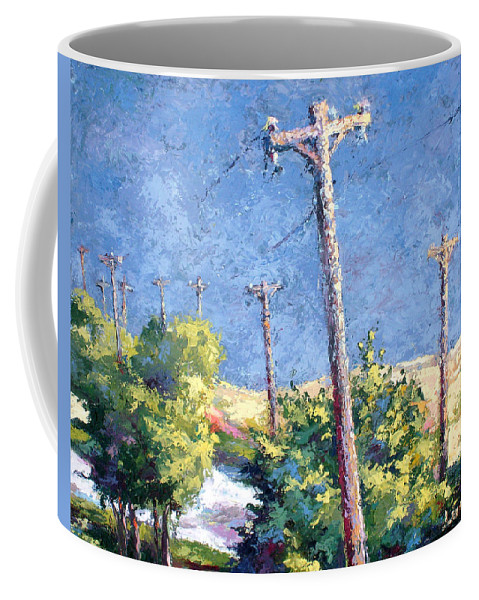 Landscape Painting Coffee Mug featuring the painting Telephone Poles Before The Rain by Lewis Bowman