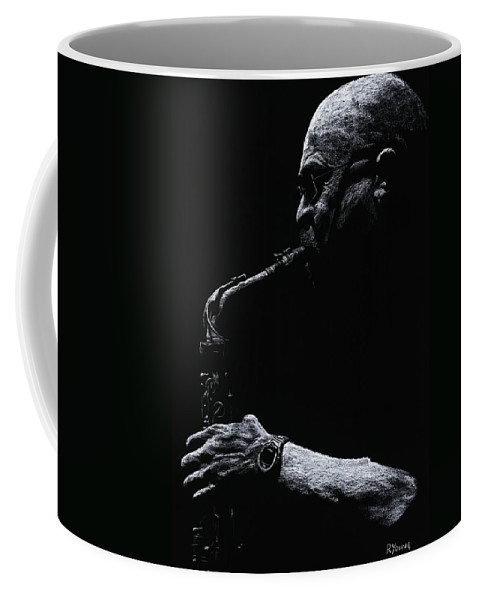 Musician Coffee Mug featuring the pastel Temperate Sax by Richard Young