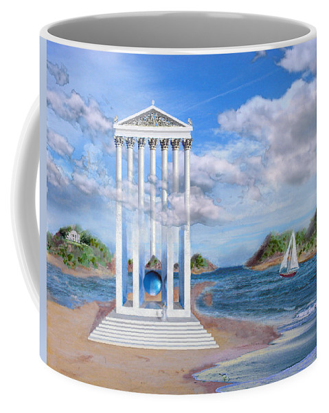 Landscape Coffee Mug featuring the painting Temple For No One by Steve Karol