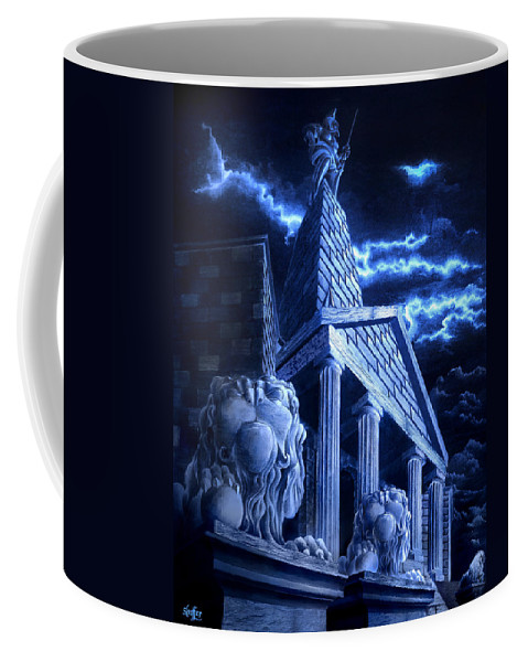 Hercules Coffee Mug featuring the drawing Temple Of Hercules In Kassel by Curtiss Shaffer