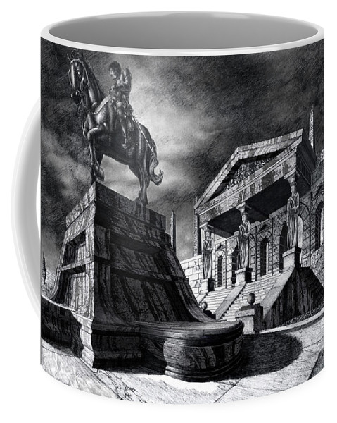 Greek Architecture Coffee Mug featuring the drawing Temple Of Perseus by Curtiss Shaffer