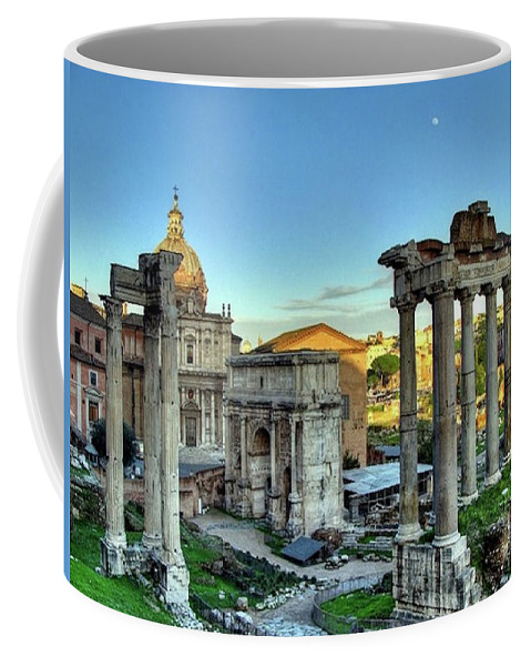 Temple Coffee Mug featuring the painting Temple Of Saturn by Troy Caperton