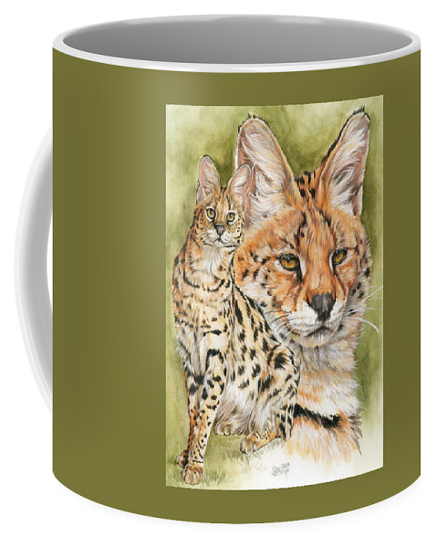 Serval Coffee Mug featuring the mixed media Tempo by Barbara Keith