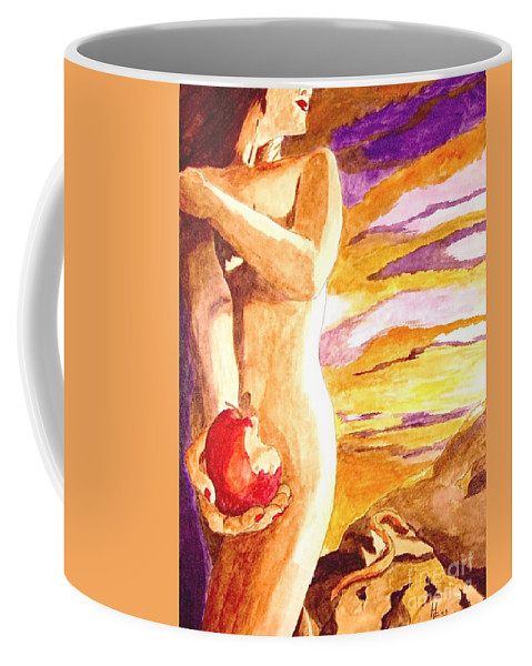 Watercolor Coffee Mug featuring the painting Temptation by Herschel Fall