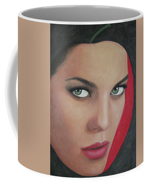 Woman Coffee Mug featuring the painting Temptation by Lynet McDonald