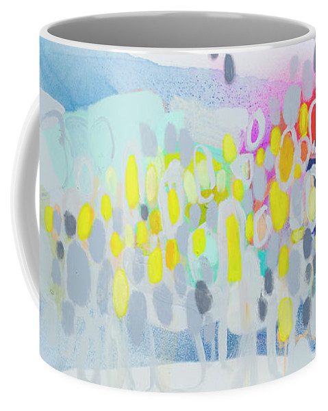 Abstract Coffee Mug featuring the painting Ten O'clock Flight by Claire Desjardins