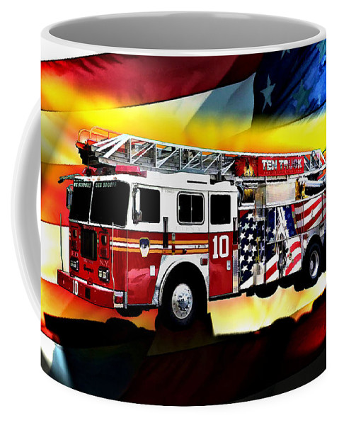 Seagrave Coffee Mug featuring the digital art Ten Truck Fdny by Tommy Anderson