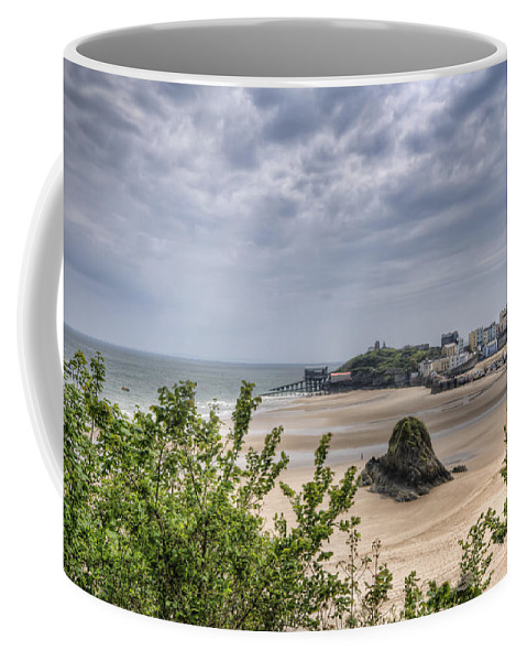 Tenby Pembrokeshire Coffee Mug featuring the photograph Tenby Pembrokeshire Low Tide by Steve Purnell
