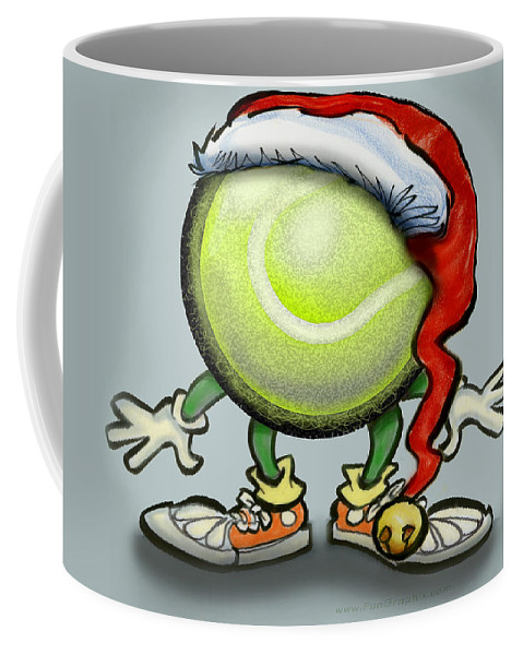 Tennis Coffee Mug featuring the greeting card Tennis Christmas by Kevin Middleton