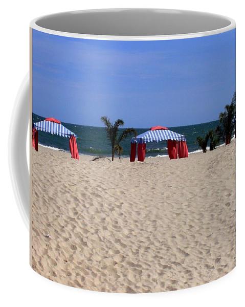 Beach Coffee Mug featuring the photograph Tent Caravan by Deborah Crew-Johnson