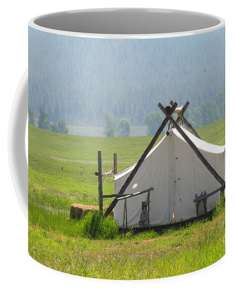 Montana Coffee Mug featuring the photograph Tent Living Montana 2010 by Diane Greco-Lesser