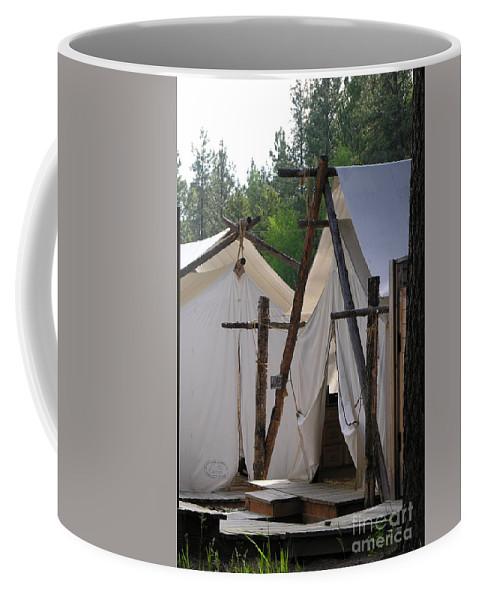 Montana Coffee Mug featuring the photograph Tent Living Montana by Diane Greco-Lesser