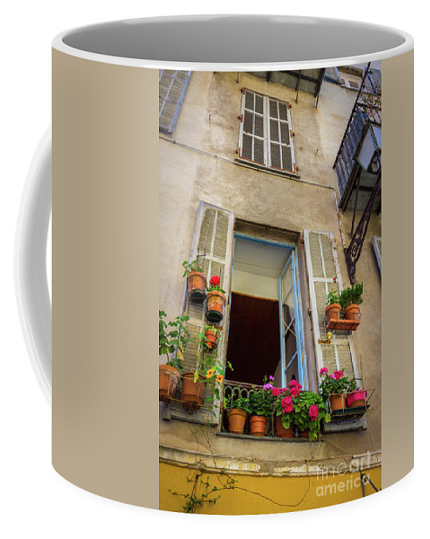Bright Colors Coffee Mug featuring the photograph Terra Cotta Pots Outside Window In Old Town Nice, France by Liesl Walsh