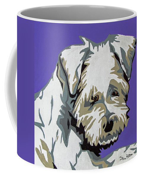 Terrier Coffee Mug featuring the painting Terrier Mix by Slade Roberts