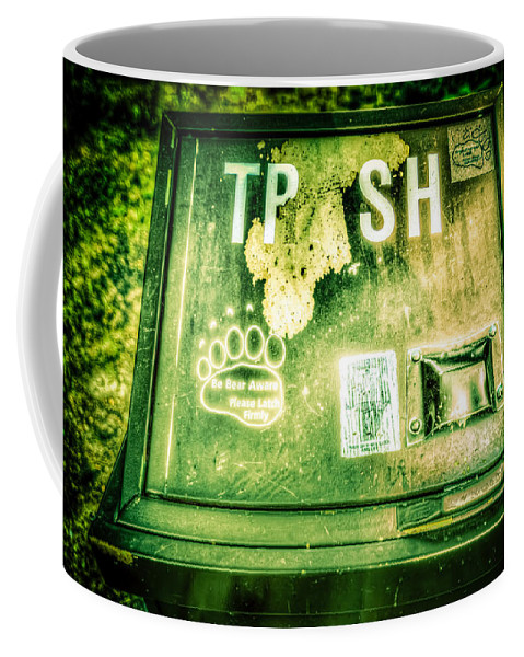 Montana Coffee Mug featuring the photograph Terror At The Trash Can by Spencer McDonald