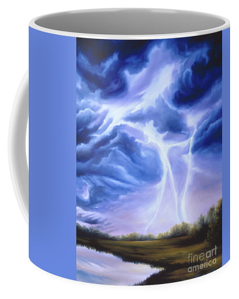 Marsh Coffee Mug featuring the painting Tesla by James Christopher Hill