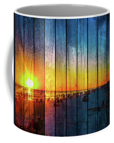 Susan Molnar Coffee Mug featuring the photograph Siesta Key Drum Circle Sunset - Wood Plank Look by Susan Molnar