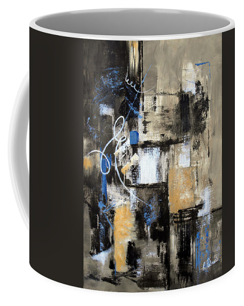 Abstract Coffee Mug featuring the painting Testing The Waters by Ruth Palmer