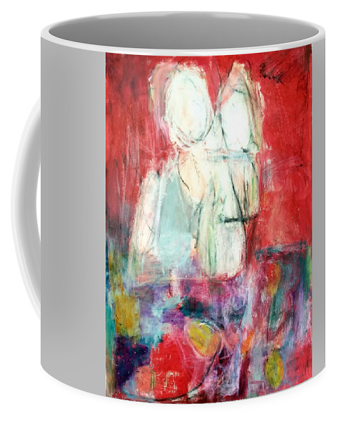 Red Coffee Mug featuring the painting Tete-a-tete by Patricia Byron