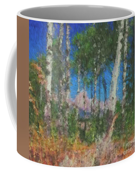 Tetons Coffee Mug featuring the digital art Tetons And Aspens by Ed Moore